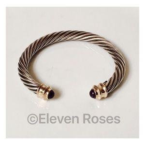 Jewelry - Sterling Silver & 14k Gold Amethyst Cuff Bracelet
